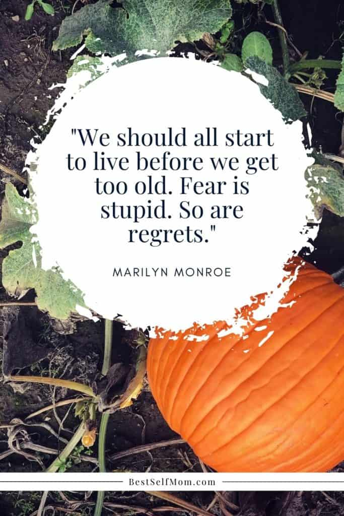 Quote over Bright Orange Pumpkin growing in pumpkin patch.