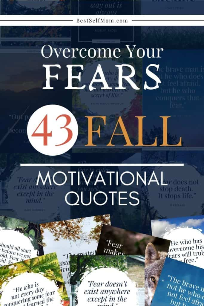 A variety of colorful Overcoming Fear Quote Pin Images layered on a dark blue background.