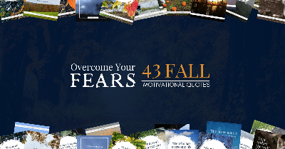 Text over Dark Blue Background With Vibrant Fall Quote Images Sprinkles Along The Top And Bottom Of Image.