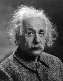 black and white photo of Albert Einstein closeup.