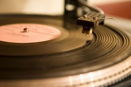 Close up image of a record being played