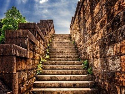 Stone steps leading upward.