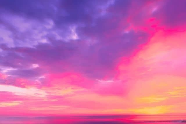 Magnificent sunset with purples, Pinks, yellows and oranges.